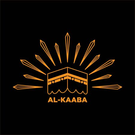 illustration line art design of kaaba in saudi arabia, islamic prayer or hajj symbol.