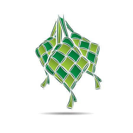 ketupat rice dumpling food illustration, islamic greeting, eid al fitr celebration food, ramadan food symbol Vetores