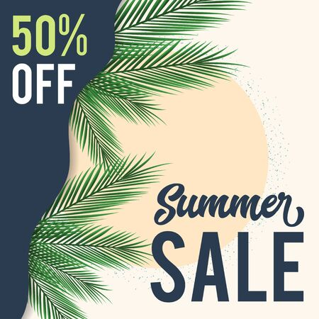 happy summer sale background layout for banners. voucher discount. colorful Vector illustration Vettoriali