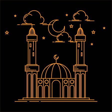 illustration of mosque building line art design isolated black background