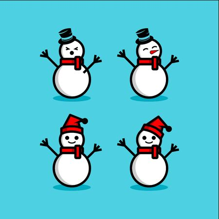 snowman vector set. winter illustration Vettoriali