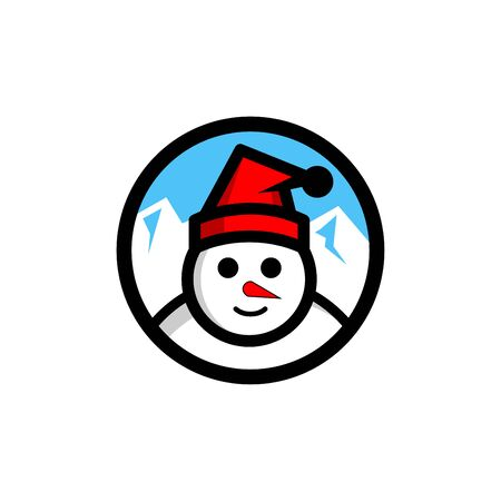 Snowman vector  . winter illustration,