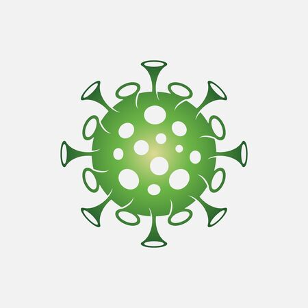 vector illustration of Coronavirus 2019-nCoV. Corona virus icon. Green color on white background isolated. virus attack. influenza pandemic. virion of Corona-virus.