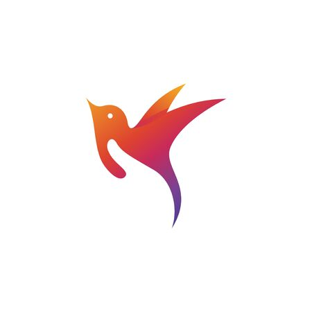 Vector logo illustration of bird care. perfect for charity, pet shop, or animal company. colorful gradient style