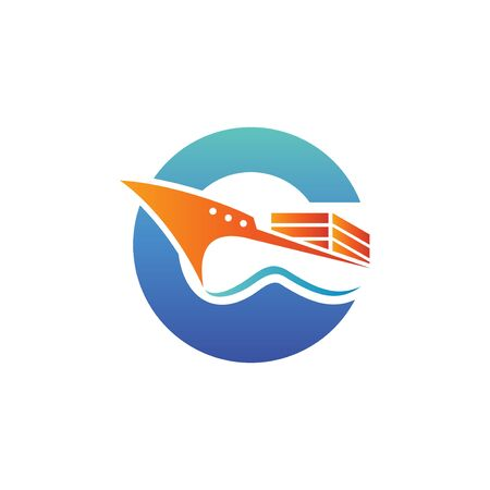 vector logo illustration for cargo ship. perfect for logistic or shipping industry. blue and orange color gradient style