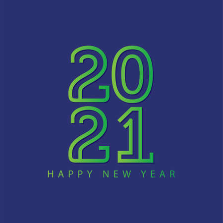 Happy new year 2021! Elegant colorful gradient design. vector illustration template.
