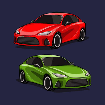 car vector illustration. fit for automotive or car repair themes. flat color hand-drawn style