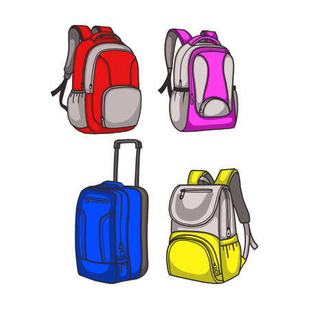 bags vector illustration. fit for school, travel, or adventure concept. flat color hand-drawn style