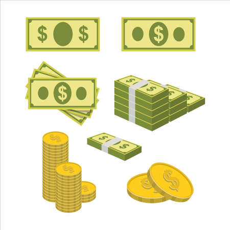 money cash vector illustration. money paper and coin with a dollar sign. fit for finance, banking, or transaction. flat color style