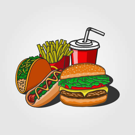 fast food vector illustration. fit for fast food restaurant graphics or food. flat color hand-drawn style