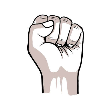 the raised fist, hand clenched vector illustration. power, strength, or protest symbol