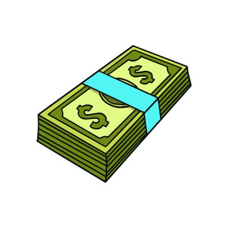 paper money cash vector illustration. fit for finance, banking, or transaction. flat color with a hand-drawn style Vettoriali
