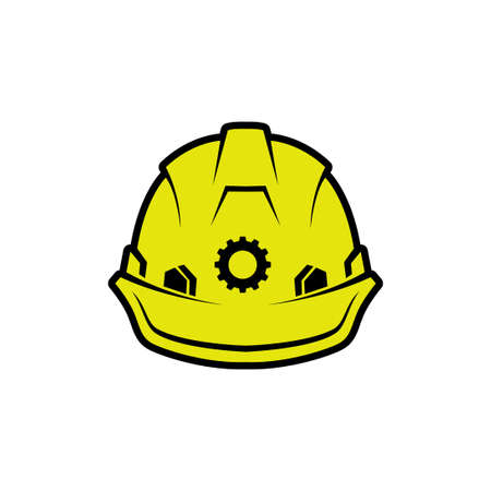 yellow safety helmet vector illustration. hard hat safety worker. flat color style