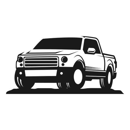 car pick up silhouette vector illustration. good for automotive, delivery or transportation industry logo. simple with dark grey color