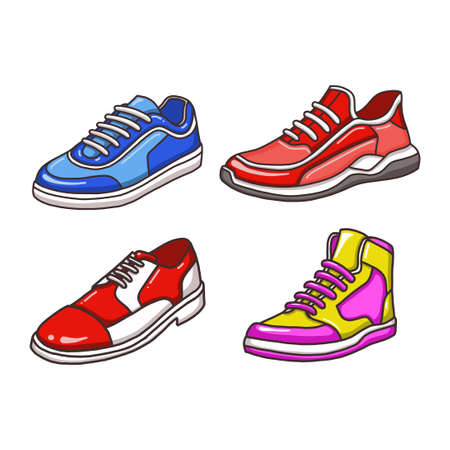 shoe vector illustration. fit for the school, fashion, or business concept. flat color hand-drawn style
