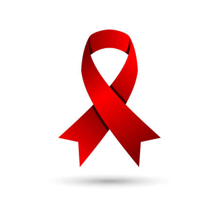 red awareness ribbon vector illustration. world aids day campaign.