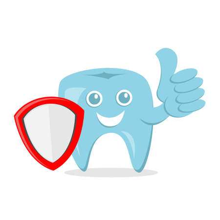 dental protection cartoon vector illustration with smile face and shield and thumbs up hand, good for dental health care. flat color style
