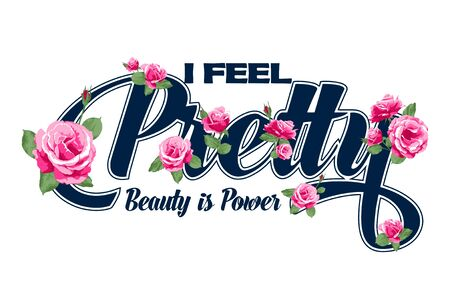 Me siento bonita La belleza es diseño gráfico vectorial de poder.