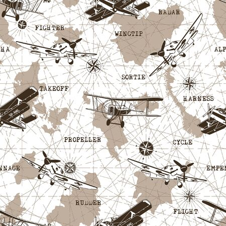 Seamless Pattern old Planes vector graphic design Ilustrace
