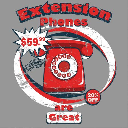 Extension old Phone vector graphic design.
