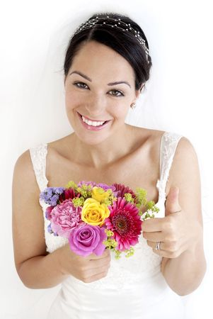 Bride excited about her special day Stock Photo