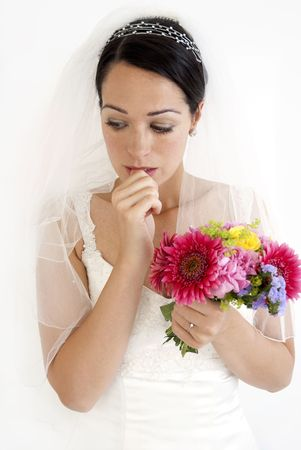 A very worried looking bride
