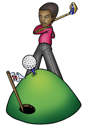 19th: young black male getting ready to hit golf ball in 19th hole.