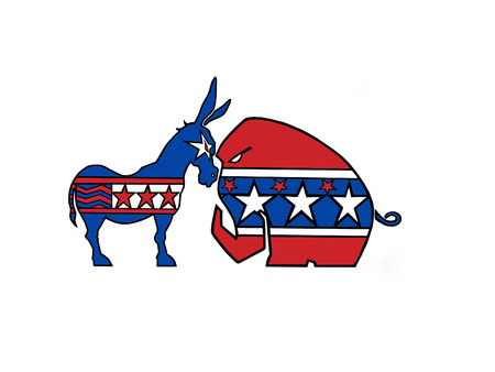 Political symbols of republicans and democrats facing off