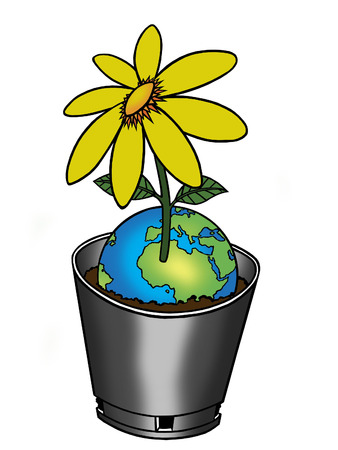 going green: A flower pot, growing a flower from the planet earth