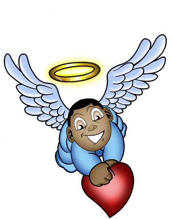 a cartoon baby angel with halo and love heart Vector
