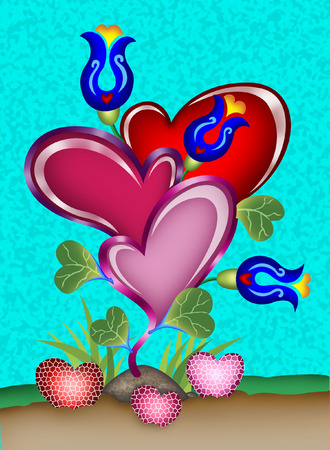 a drawing of a love tree with blue roses and heart shape starwberries Vector