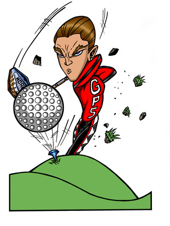 golf iron: cartoon character of a young man tee-ing of on the green swinging his golf club. Illustration