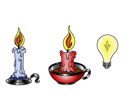 defferent types of fire and electrical light Vector