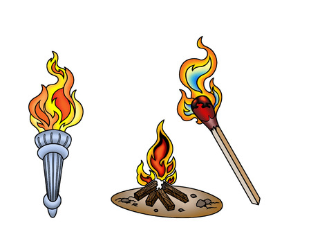 fire wood: defferent types of fire, torch, camp-fire, and match-stick Illustration