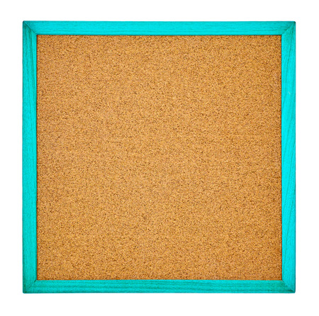 The corkboard of a white background It is a square form by a blue frame  photo
