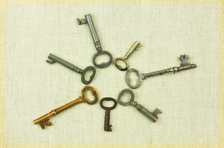 old keys: Heart-shaped old keys