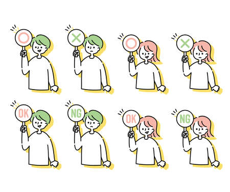 ○× set of men and women with panels (upper body) 矢量图片