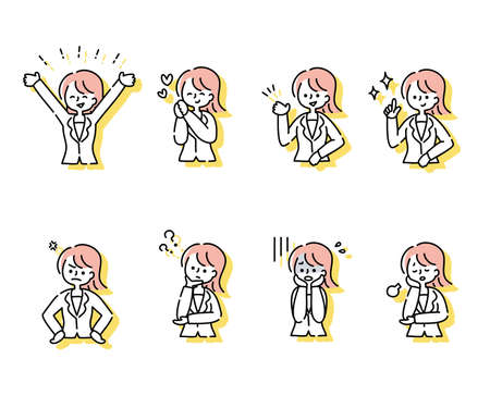 Set of various emotional expressions and poses of suit women (upper body) 矢量图片