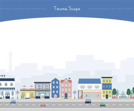 European-style town with a park (blue) Vektorové ilustrace