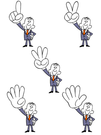 right hand: Businessman representing numbers in the right hand Illustration