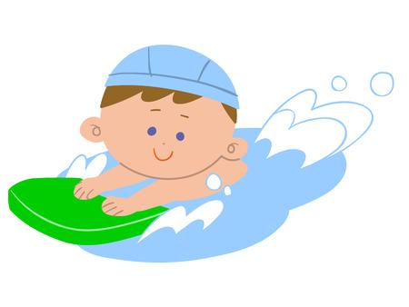 Boy zwemmen Stock Illustratie