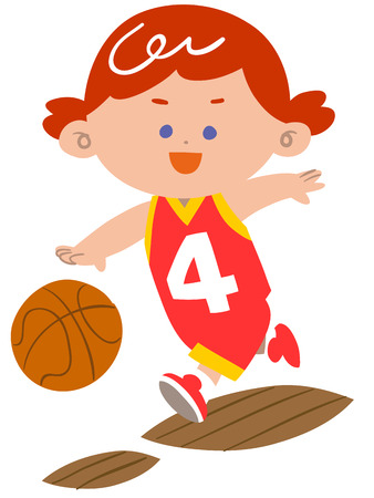 Girls play basketball