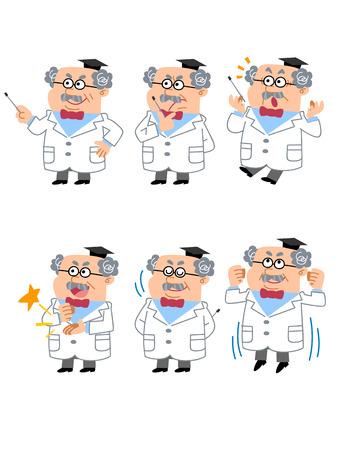 教授または医者の顔の表情やしぐさの六つの 写真素材 - 24057555