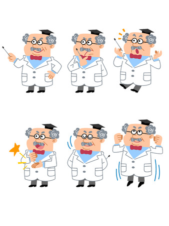 ph: Professor or Doctor  Facial expression and gesture of six Illustration