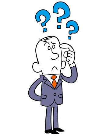 doubt: Several questions of business man Illustration