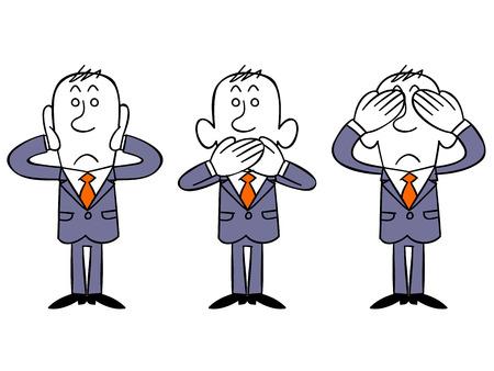 look up: Businessman like three little monkeys Illustration