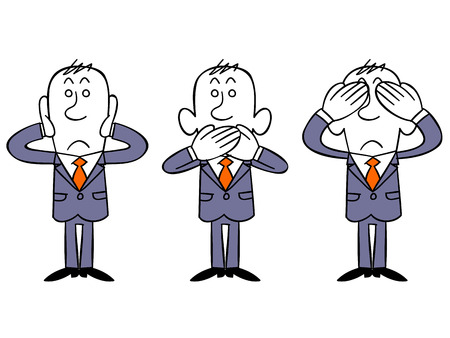 using mouth: Businessman like three little monkeys Illustration