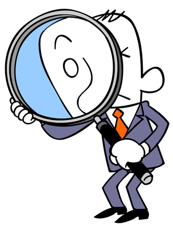 Businessman look through a magnifying glass