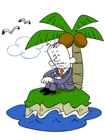 apathy: Business man alone in the deserted island