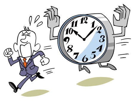 appointed: Business man running away from the monster of time Illustration